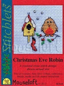 Mouseloft Christmas Eve Robin Card Christmas Stitchlets cross stitch kit
